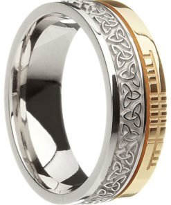 Two Tone Gold Trinity Knot Band with Ogham Script