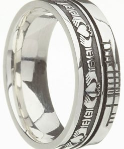 Sterling Silver Claddagh with Ogham Script Band