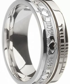 Gold Claddagh Band with Ogham Script