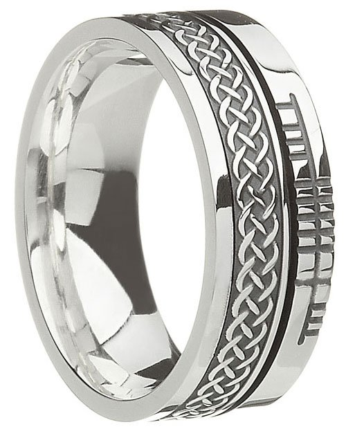Sterling Silver Celtic Knot with Ogham Script Band