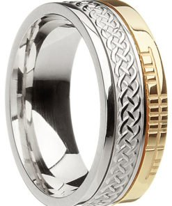 Two Tone Gold Celtic Knot Band with Ogham Script