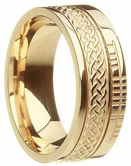 Gold Celtic Knot Ogham Wedding Ring