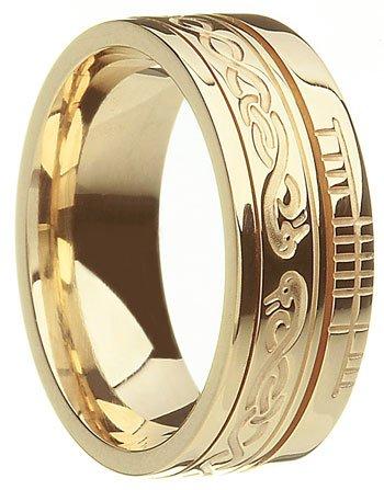 Gold 'Le Cheile' Celtic Knot Ogham Wedding Ring