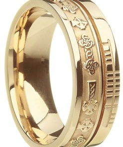 Gold Celtic Cross Ogham Wedding Ring