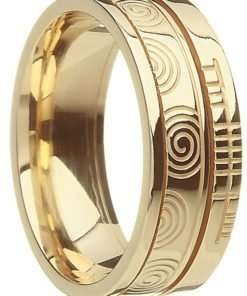 Gold Celtic Spiral Ogham Wedding Ring