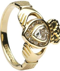 Gold Claddagh Diamond Ring Set with Diamond Heart