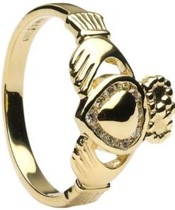 Diamond Set Gold Heart Claddagh Ring