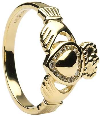 Diamond Set Gold Heart Claddagh Ring
