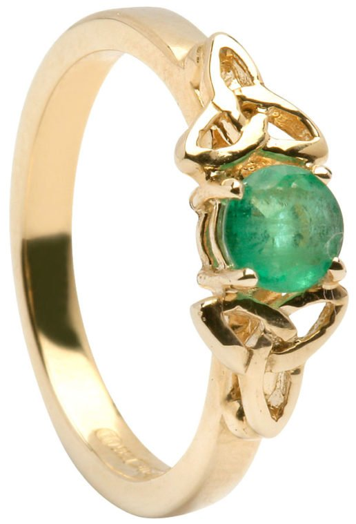 Ladies Gold Trinity Engagement Ring with Emerald Setting