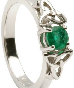 Ladies White Gold Trinity Engagement Ring with Emerald Setting