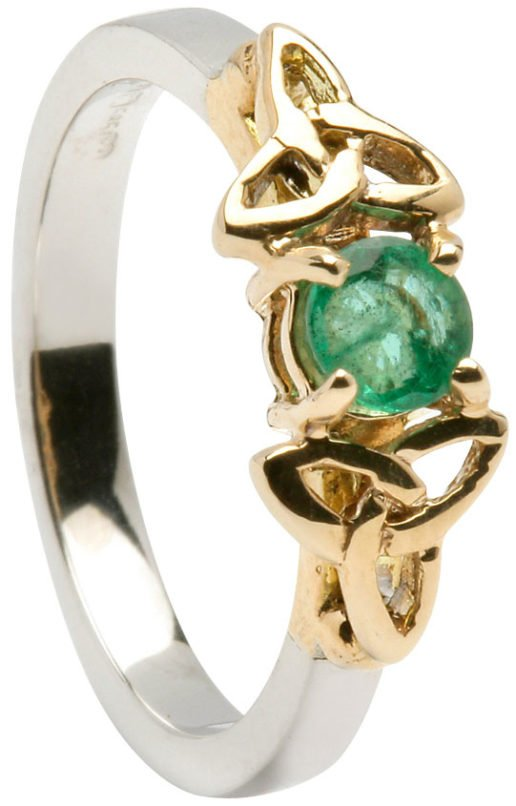 Yellow and White Gold Trinity Engagement Ring with Emerald Setting