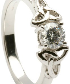 Ladies 14k White Gold Trinity Knot Diamond Engagement Ring