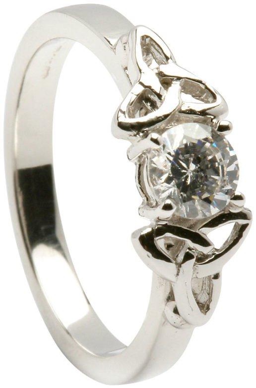Ladies 14k White Gold Trinity Knot Diamond Engagement Ring