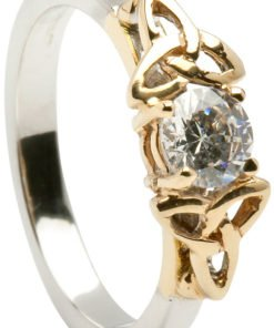 Yellow and White Gold Trinity Diamond Solitaire Engagement Ring