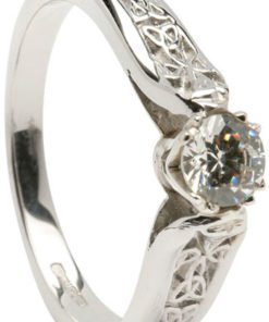 Ladies 14k White Gold Trinity Knot Diamond Solitaire Engagement Ring