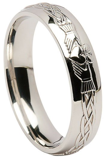 Sterling Silver Claddagh Celtic Wedding Band