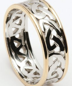 Gold Celtic Knot Wedding Ring with Rims