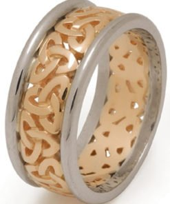 Wide Gold Filigree Trinity Knot Wedding Ring