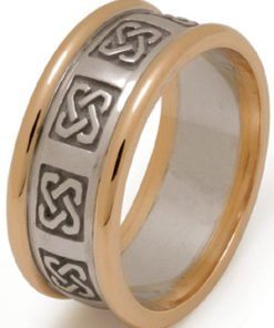 Handmade Celtic Knot Wedding Ring with Rims