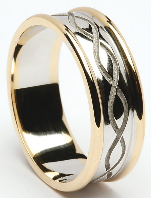 Traditional Gold Celtic Weave Wedding Ring with Rims