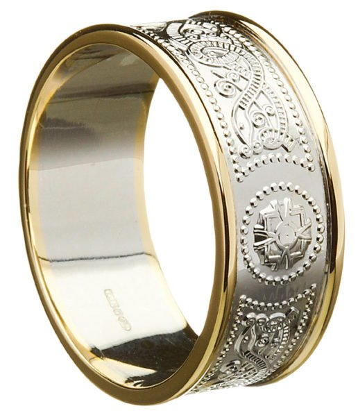 Celtic Shield Wedding Ring with Rims