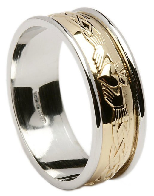 Gold Claddagh Celtic Wedding Ring with Rims