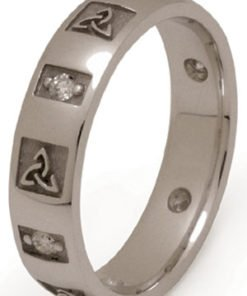 Gold Trinity Knot Wedding Band with Diamonds