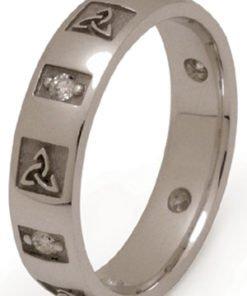 Gold Trinity Knot Wedding Band with Diamonds