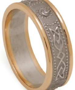 Celtic Shield Wedding Band with Rims