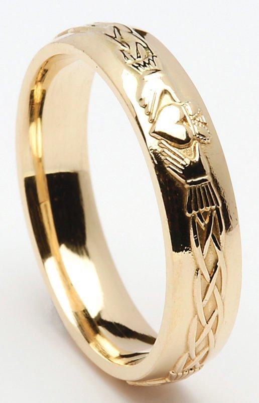 Gold Claddagh Celtic Wedding Band