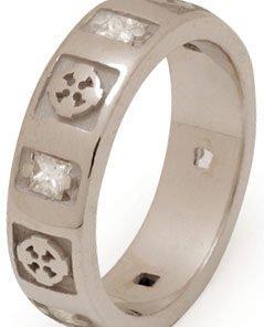 Ladies Celtic Cross Wedding Band with Diamonds