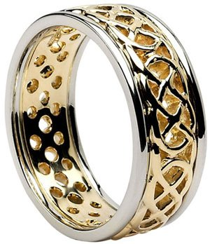 Gold Pierced Celtic Knot Wedding Band with Rims