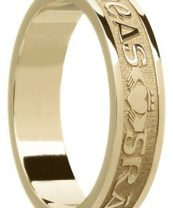 'Gra Dilseacht Cairdeas' Gold Celtic Wedding Ring