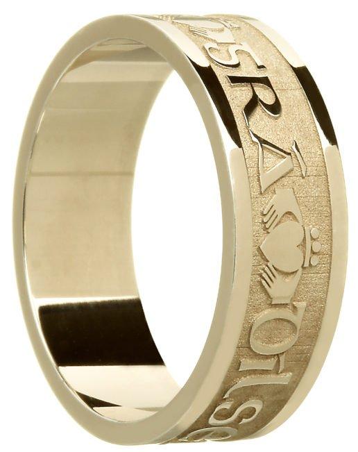 'Gra Dilseacht Cairdeas' Gold Celtic Wedding Ring