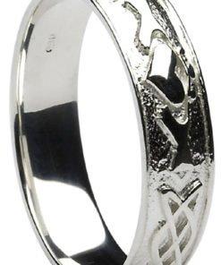 Silver Claddagh Celtic Knot Wedding Band