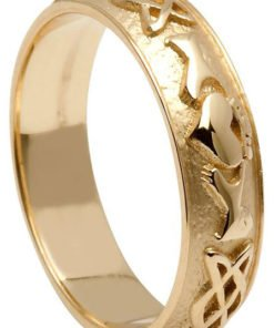 Gold Claddagh Celtic Knot Wedding Band