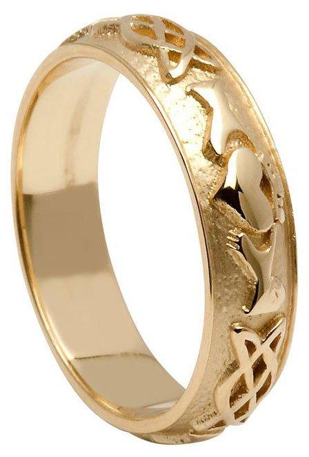 Gold Claddagh Celtic Knot Wedding Band