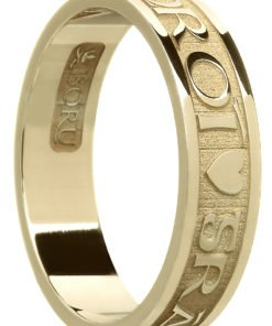 'Gra Gael Mo Chroi' Gold Celtic Wedding Ring