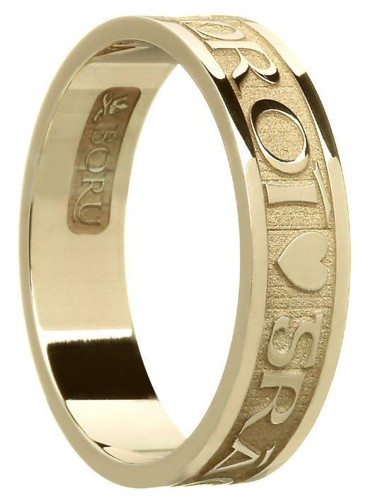 'Gra Gael Mo Chroi' Gold Celtic Wedding Ring