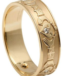 Ladies Gold Diamond Set Florentine Claddagh Ring