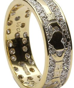 Ladies Gold Diamond Pavee Claddagh Wedding Ring