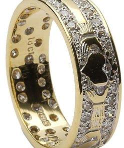 Ladies Gold Diamond Pavee Claddagh Wedding Ring