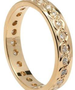 Ladies Diamond Set Gold Celtic Knot Wedding Ring