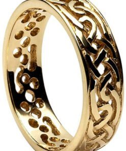 Gold Celtic Knot Filigree Wedding Band