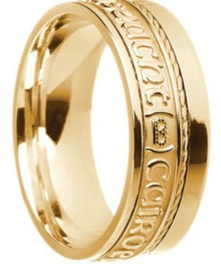 Gold 'Gra Dilseact Cairdeas' Claddagh Wedding Ring