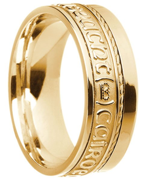 Gold 'Gra Dilseact Cairdeas' Claddagh Wedding Ring