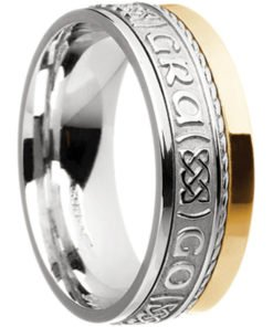 Two Tone Gold 'Gra Go Deo' Claddagh Band