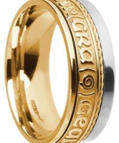 Two Tone Gold 'Gra Gael Mo Chroi' Celtic Wedding Ring