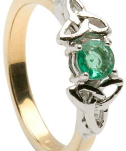 White and Yellow Gold Trinity Engagement Ring with Emerald Setting