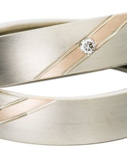 White Gold with Rose Gold Stripe